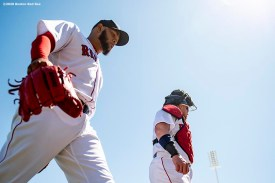 FT. MYERS, FL - FEBRUARY 29: Eduardo Rodriguez #57 and Christian Vazquez #7 of the Boston Red Sox walk toward the dugout before a Grapefruit League game against the New York Yankees on February 29, 2020 at jetBlue Park at Fenway South in Fort Myers, Florida. (Photo by Billie Weiss/Boston Red Sox/Getty Images) *** Local Caption *** Eduardo Rodriguez; Christian Vazquez