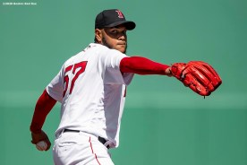 FT. MYERS, FL - FEBRUARY 29: Eduardo Rodriguez #57 of the Boston Red Sox delivers during the second inning of a Grapefruit League game against the New York Yankees on February 29, 2020 at jetBlue Park at Fenway South in Fort Myers, Florida. (Photo by Billie Weiss/Boston Red Sox/Getty Images) *** Local Caption *** Eduardo Rodriguez