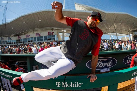 FT. MYERS, FL - MARCH 5: Nathan Eovaldi #17 of the Boston Red Sox hops over the dugout railing before a Grapefruit League game against the Houston Astros on March 5, 2020 at jetBlue Park at Fenway South in Fort Myers, Florida. (Photo by Billie Weiss/Boston Red Sox/Getty Images) *** Local Caption *** Nathan Eovaldi