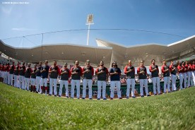 FT. MYERS, FL - MARCH 5: Members of the Boston Red Sox line up before a Grapefruit League game against the Houston Astros on March 5, 2020 at jetBlue Park at Fenway South in Fort Myers, Florida. (Photo by Billie Weiss/Boston Red Sox/Getty Images) *** Local Caption ***