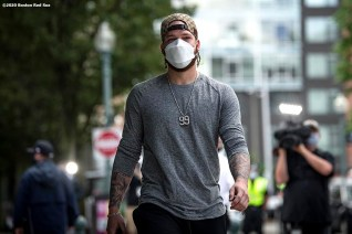 BOSTON, MA - JULY 1: Alex Verdugo #99 of the Boston Red Sox arrives in advance of a training period before the start of the 2020 Major League Baseball season on July 1, 2020 at Fenway Park in Boston, Massachusetts. The season was delayed due to the coronavirus pandemic. (Photo by Billie Weiss/Boston Red Sox/Getty Images) *** Local Caption *** Alex Verdugo