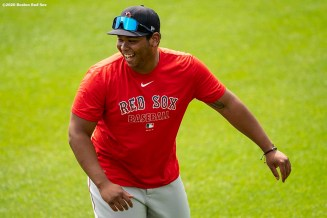 BOSTON, MA - JULY 8: Rafael Devers #11 of the Boston Red Sox reacts during a summer camp workout before the start of the 2020 Major League Baseball season on July 8, 2020 at Fenway Park in Boston, Massachusetts. The season was delayed due to the coronavirus pandemic. (Photo by Billie Weiss/Boston Red Sox/Getty Images) *** Local Caption *** Rafael Devers