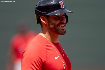 BOSTON, MA - JULY 9: J.D. Martinez #28 of the Boston Red Sox reacts during an inter squad game during a summer camp workout before the start of the 2020 Major League Baseball season on July 9, 2020 at Fenway Park in Boston, Massachusetts. The season was delayed due to the coronavirus pandemic. (Photo by Billie Weiss/Boston Red Sox/Getty Images) *** Local Caption *** J.D. Martinez