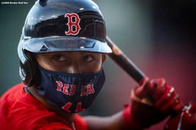 BOSTON, MA - JULY 17: Tzu-Wei Lin #30 of the Boston Red Sox wears a mask as he looks on during an intra squad game during a summer camp workout before the start of the 2020 Major League Baseball season on July 17, 2020 at Fenway Park in Boston, Massachusetts. The season was delayed due to the coronavirus pandemic. (Photo by Billie Weiss/Boston Red Sox/Getty Images) *** Local Caption *** Tzu-Wei Lin