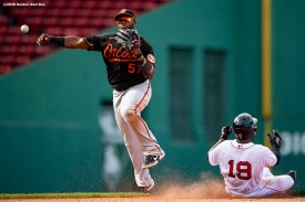 BOSTON, MA - JULY 26: Hanser Alberto #57 of the Baltimore Orioles turns a double play over Jackie Bradley Jr. #19 of the Boston Red Sox during the eighth inning of a game on July 26, 2020 at Fenway Park in Boston, Massachusetts. The 2020 season had been postponed since March due to the COVID-19 pandemic. (Photo by Billie Weiss/Boston Red Sox/Getty Images) *** Local Caption *** Hanser Alberto; Jackie Bradley Jr.