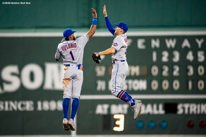 BOSTON, MA - JULY 27: Brandon Nimmo #9 and Amed Rosario #1 of the New York Mets celebrate a victory over the Boston Red Sox on July 27, 2020 at Fenway Park in Boston, Massachusetts. The 2020 season had been postponed since March due to the COVID-19 pandemic. (Photo by Billie Weiss/Boston Red Sox/Getty Images) *** Local Caption *** Brandon Nimmo; Amed Rosario