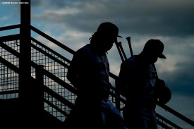 BOSTON, MA - JULY 28: Jonathan Arauz #36 and Jose Peraza #3 of the Boston Red Sox walk to the field before a game against the New York Mets on July 28, 2020 at Fenway Park in Boston, Massachusetts. The 2020 season had been postponed since March due to the COVID-19 pandemic. (Photo by Billie Weiss/Boston Red Sox/Getty Images) *** Local Caption *** Jonathan Arauz; Jose Peraza