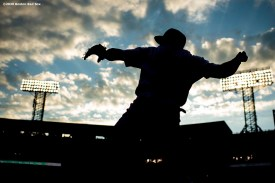 BOSTON, MA - JULY 28: Jose Peraza #3 of the Boston Red Sox warms up before a game against the New York Mets on July 28, 2020 at Fenway Park in Boston, Massachusetts. The 2020 season had been postponed since March due to the COVID-19 pandemic. (Photo by Billie Weiss/Boston Red Sox/Getty Images) *** Local Caption *** Jose Peraza