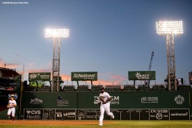 BOSTON, MA - JULY 28: Jackie Bradley Jr. #19 of the Boston Red Sox runs off the field during the third inning of a game against the New York Mets on July 28, 2020 at Fenway Park in Boston, Massachusetts. The 2020 season had been postponed since March due to the COVID-19 pandemic. (Photo by Billie Weiss/Boston Red Sox/Getty Images) *** Local Caption *** Jackie Bradley Jr.