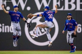 BOSTON, MA - JULY 28: Brandon Nimmo #9, Michael Conforto #30, and Jake Marisnick #16 of the New York Mets celebrate a victory over the Boston Red Sox on July 28, 2020 at Fenway Park in Boston, Massachusetts. The 2020 season had been postponed since March due to the COVID-19 pandemic. (Photo by Billie Weiss/Boston Red Sox/Getty Images) *** Local Caption *** Brandon Nimmo; Michael Conforto; Jake Marisnick