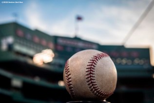 BOSTON, MA - AUGUST 10: A baseball is shown during a game between the Boston Red Sox and the Tampa Bay Rays on August 10, 2020 at Fenway Park in Boston, Massachusetts. The 2020 season had been postponed since March due to the COVID-19 pandemic. (Photo by Billie Weiss/Boston Red Sox/Getty Images) *** Local Caption ***