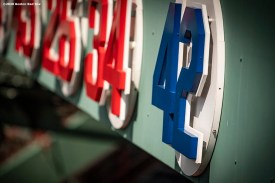 BOSTON, MA - AUGUST 28: The number 42 retired number sign is displayed in recognition of Jackie Robinson Day before a game between the Boston Red Sox and the Washington Nationals on August 28, 2020 at Fenway Park in Boston, Massachusetts. The 2020 season had been postponed since March due to the COVID-19 pandemic. (Photo by Billie Weiss/Boston Red Sox/Getty Images) *** Local Caption ***