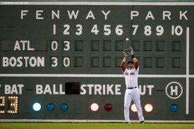 BOSTON, MA - SEPTEMBER 2: J.D. Martinez #28 of the Boston Red Sox catches a fly ball during the third inning of a game against the Atlanta Braves on September 2, 2020 at Fenway Park in Boston, Massachusetts. The 2020 season had been postponed since March due to the COVID-19 pandemic. (Photo by Billie Weiss/Boston Red Sox/Getty Images) *** Local Caption *** J.D. Martinez