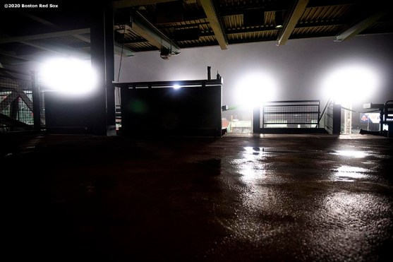 BOSTON, MA - SEPTEMBER 2: Lights shine during a game between the Boston Red Sox and the Atlanta Braves on September 2, 2020 at Fenway Park in Boston, Massachusetts. The 2020 season had been postponed since March due to the COVID-19 pandemic. (Photo by Billie Weiss/Boston Red Sox/Getty Images) *** Local Caption ***