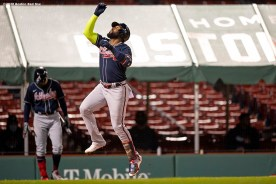 BOSTON, MA - SEPTEMBER 2: Marcell Ozuna #20 of the Atlanta Braves reacts after hitting a home run during the seventh inning of a game against the Boston Red Sox on September 2, 2020 at Fenway Park in Boston, Massachusetts. The 2020 season had been postponed since March due to the COVID-19 pandemic. (Photo by Billie Weiss/Boston Red Sox/Getty Images) *** Local Caption *** Marcell Ozuna