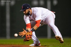 BOSTON, MA - SEPTEMBER 2: Jose Peraza #3 of the Boston Red Sox fields a ground ball during the seventh inning of a game against the Atlanta Braves on September 2, 2020 at Fenway Park in Boston, Massachusetts. The 2020 season had been postponed since March due to the COVID-19 pandemic. (Photo by Billie Weiss/Boston Red Sox/Getty Images) *** Local Caption *** Jose Peraza
