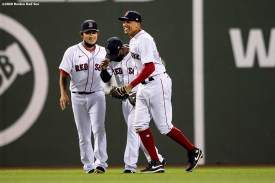 BOSTON, MA - SEPTEMBER 4: Tzu-Wei Lin #5, Jackie Bradley Jr. #19, and Yairo Munoz #60 of the Boston Red Sox celebrate a victory against the Toronto Blue Jays on September 4, 2020 at Fenway Park in Boston, Massachusetts. The 2020 season had been postponed since March due to the COVID-19 pandemic. (Photo by Billie Weiss/Boston Red Sox/Getty Images) *** Local Caption *** Tzu-Wei Lin; Matt Barnes; Yairo Munoz