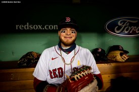 BOSTON, MA - SEPTEMBER 5: Alex Verdugo #99 of the Boston Red Sox reacts before a game against the Toronto Blue Jays on September 5, 2020 at Fenway Park in Boston, Massachusetts. The 2020 season had been postponed since March due to the COVID-19 pandemic. (Photo by Billie Weiss/Boston Red Sox/Getty Images) *** Local Caption *** Alex Verdugo
