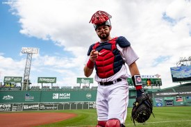 BOSTON, MA - SEPTEMBER 5: Kevin Plawecki #25 of the Boston Red Sox walks toward the dugout before a game against the Toronto Blue Jays on September 5, 2020 at Fenway Park in Boston, Massachusetts. The 2020 season had been postponed since March due to the COVID-19 pandemic. (Photo by Billie Weiss/Boston Red Sox/Getty Images) *** Local Caption *** Kevin Plawecki