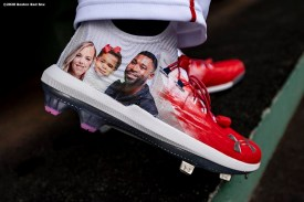 BOSTON, MA - SEPTEMBER 5: The cleats of Jackie Bradley Jr. #19 of the Boston Red Sox displaying his family are shown before a game against the Toronto Blue Jays on September 5, 2020 at Fenway Park in Boston, Massachusetts. The 2020 season had been postponed since March due to the COVID-19 pandemic. (Photo by Billie Weiss/Boston Red Sox/Getty Images) *** Local Caption *** Jackie Bradley Jr.