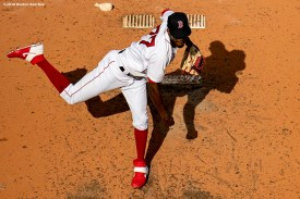 BOSTON, MA - SEPTEMBER 6: Robinson Leyer #77 of the Boston Red Sox delivers during the fifth inning of a game against the Toronto Blue Jays on September 6, 2020 at Fenway Park in Boston, Massachusetts. The 2020 season had been postponed since March due to the COVID-19 pandemic. (Photo by Billie Weiss/Boston Red Sox/Getty Images) *** Local Caption *** Robinson Leyer