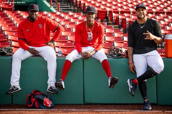 BOSTON, MA - SEPTEMBER 18: Domingo Tapia #66, Phillips Valdez #77, and Darwinzon Hernandez #63 of the Boston Red Sox pose for a photograph before a game against the New York Yankees on September 18, 2020 at Fenway Park in Boston, Massachusetts. The 2020 season had been postponed since March due to the COVID-19 pandemic. (Photo by Billie Weiss/Boston Red Sox/Getty Images) *** Local Caption *** Domingo Tapia; Phillips Valdez; Darwinzon Hernandez