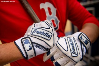 BOSTON, MA - SEPTEMBER 18: J.D. Martinez #28 of the Boston Red Sox wears Franklin batting gloves before a game against the New York Yankees on September 18, 2020 at Fenway Park in Boston, Massachusetts. The 2020 season had been postponed since March due to the COVID-19 pandemic. (Photo by Billie Weiss/Boston Red Sox/Getty Images) *** Local Caption *** J.D. Martinez