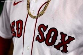 BOSTON, MA - SEPTEMBER 18: The necklace of Alex Verdugo #99 of the Boston Red Sox is shown before a game against the New York Yankees on September 18, 2020 at Fenway Park in Boston, Massachusetts. The 2020 season had been postponed since March due to the COVID-19 pandemic. (Photo by Billie Weiss/Boston Red Sox/Getty Images) *** Local Caption *** Alex Verdugo