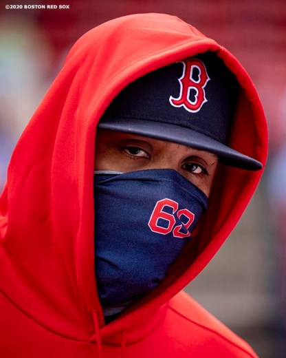 BOSTON, MA - SEPTEMBER 20: Darwinzon Hernandez #63 of the Boston Red Sox wears a mask as he looks on before a game against the New York Yankees on September 20, 2020 at Fenway Park in Boston, Massachusetts. The 2020 season had been postponed since March due to the COVID-19 pandemic. (Photo by Billie Weiss/Boston Red Sox/Getty Images) *** Local Caption *** Darwinzon Hernandez