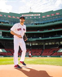 BOSTON, MA - SEPTEMBER 20: Tanner Houck #89 of the Boston Red Sox looks on before a game against the New York Yankees on September 20, 2020 at Fenway Park in Boston, Massachusetts. It was his debut at Fenway Park. The 2020 season had been postponed since March due to the COVID-19 pandemic. (Photo by Billie Weiss/Boston Red Sox/Getty Images) *** Local Caption *** Tanner Houck