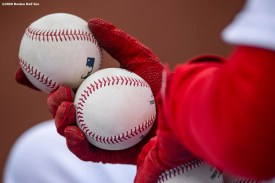 BOSTON, MA - SEPTEMBER 20: Baseballs are shown during a game between the Boston Red Sox and the New York Yankees on September 20, 2020 at Fenway Park in Boston, Massachusetts. The 2020 season had been postponed since March due to the COVID-19 pandemic. (Photo by Billie Weiss/Boston Red Sox/Getty Images) *** Local Caption ***