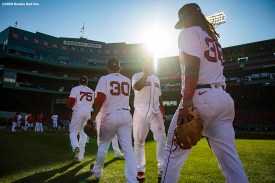 BOSTON, MA - SEPTEMBER 20: Members of the Boston Red Sox celebrate a victory against the New York Yankees on September 20, 2020 at Fenway Park in Boston, Massachusetts. The 2020 season had been postponed since March due to the COVID-19 pandemic. (Photo by Billie Weiss/Boston Red Sox/Getty Images) *** Local Caption ***