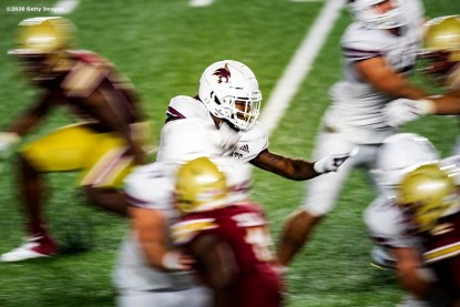 CHESTNUT HILL, MA - SEPTEMBER 26: Brock Sturges #5 of the Texas State Bobcats carries the ball during the second half of a game against the Boston College Eagles at Alumni Stadium on September 26, 2020 in Chestnut Hill, Massachusetts. (Photo by Billie Weiss/Getty Images) *** Local Caption *** Brock Sturges
