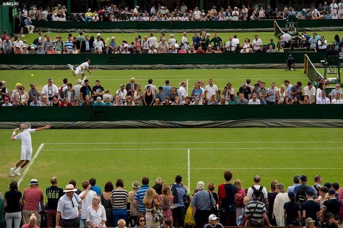 """Radek Stepanek serves as play begins on day one of the 2014 Championships Wimbledon at the All England Lawn and Tennis Club in London, England Monday, June 23, 2014."""