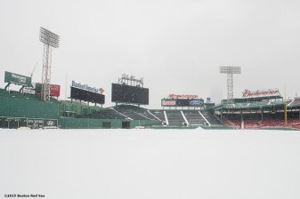 """The field is shown as snow falls at Fenway Park in Boston, Massachusetts Friday, January 30, 2015. """