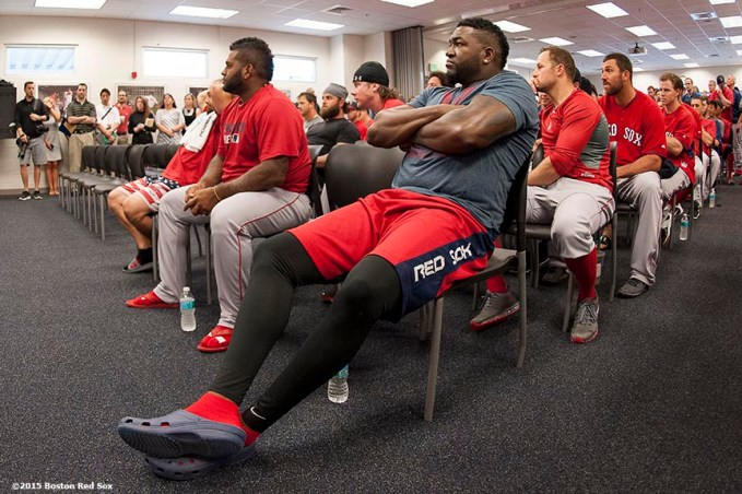 """Boston Red Sox players attend a team meeting at JetBlue Park in Fort Myers, Florida Wednesday, February 25, 2015."""