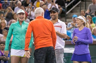 """John McEnroe is introduced alongside Coco Vandeweghe, James Blake, and Tracy Austin during the McEnroe Challenge for Charity presented by Masimo in Stadium 2 at the Indian Wells Tennis Garden in Indian Wells, California Saturday, March 7, 2015."""