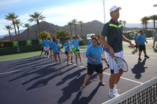 """""""Sam Query hosts a Fila junior tennis clinic at the Indian Wells Tennis Garden in Indian Wells, California Tuesday, March 10, 2015."""""""