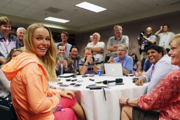 """Caroline Wozniacki takes part in the WTA All-Access Hour at the Indian Wells Tennis Garden in Indian Wells, California Tuesday, March 11, 2015."""