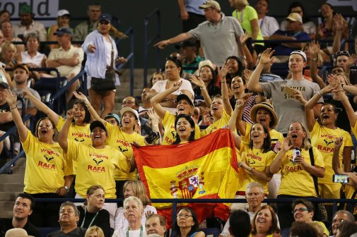 """A group of fans cheer on Rafael Nadal as he plays against Igor Sijsling during their match at stadium 1 at the Indian Wells Tennis Garden in Indian Wells, California on Sunday, March 15, 2015."""
