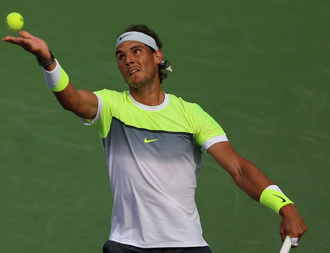 """Rafael Nadal in action against Donald Young during their match at stadium 1 at the Indian Wells Tennis Garden in Indian Wells, California on Tuesday, March 17, 2015."""