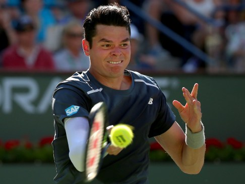"""Milos Raonic during a men's quarter-final match against Rafael Nadal on day twelve at the Indian Wells Tennis Garden in Indian Wells, California Friday, March 20, 2015."""