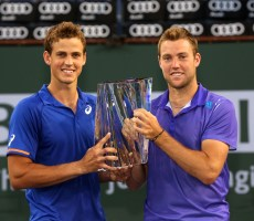 """Vasek Pospisil and Jack Sock defeat Simone Bolelli and Fabio Fognini to win the Men's Doubles Championship on Stadium 1 at the 2015 BNP Paribas Open in Indian Wells, California on Saturday, March 21, 2015."""