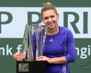 """Trophy Ceremony after the BNP Paribas Open Women's Singles Final between Simona Halep and Jelena Jankovic in Indian Wells, California on Sunday, March 22, 2015."""