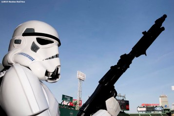 """""""A Storm Trooper poses for a photo during Star Wars Night at Fenway Park in Boston, Massachusetts Monday, May 4, 2015."""""""