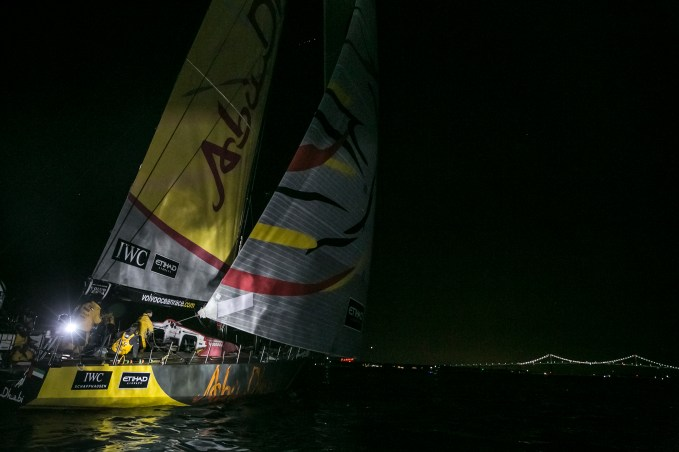 NEWPORT, RI - MAY 07: In this handout image provided by the Volvo Ocean Race, Abu Dhabi Ocean Racing in second position of Leg 6, arriving to Newport during the finish of Leg 6 from Itajai to Newport on May 7, 2015 in Newport, Rhode Island. The Volvo Ocean Race 2014-15 is the 12th running of this ocean marathon. Starting from Alicante in Spain on October 11, 2014, the route, spanning some 39,379 nautical miles, visits 11 ports in eleven countries (Spain, South Africa, United Arab Emirates, China, New Zealand, Brazil, United States, Portugal, France, The Netherlands and Sweden) over nine months. The Volvo Ocean Race is the world's premier ocean yacht race for professional racing crews. (Photo by Billie Weiss / Volvo Ocean Race via Getty Images)