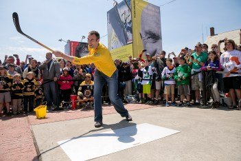 NEWPORT, RI - MAY 16: In this handout image provided by the Volvo Ocean Race, Boston Bruins defenseman Zdeno Chara participates in a hockey shooting contest during the Newport In-Port Race ahead of Leg 7 from Newport to Lisbon on May 16, 2015 in Newport, Rhodes Island. The Volvo Ocean Race 2014-15 is the 12th running of this ocean marathon. Starting from Alicante in Spain on October 04, 2014, the route, spanning some 39,379 nautical miles, visits 11 ports in eleven countries (Spain, South Africa, United Arab Emirates, China, New Zealand, Brazil, United States, Portugal, France, The Netherlands and Sweden) over nine months. The Volvo Ocean Race is the world's premier ocean yacht race for professional racing crews. (Photo by Billie Weiss / Volvo Ocean Race via Getty Images)