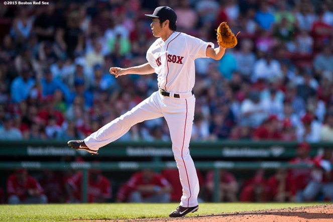"""Boston Red Sox pitcher Koji Uehara delivers during the ninth inning of a game against the Los Angeles Angels of Anaheim at Fenway Park in Boston, Massachusetts Sunday, May 24, 2015."""