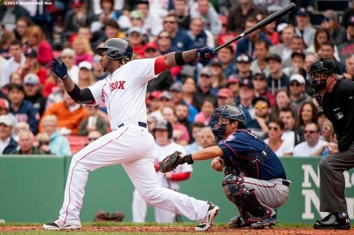"""""""Boston Red Sox left fielder Hanley Ramirez hits an RBI single during the fourth inning of a game against the Minnesota Twins at Fenway Park in Boston, Massachusetts Wednesday, June 3, 2015."""""""