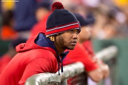 """""""Boston Red Sox left fielder Hanley Ramirez looks on during the fifth inning of the second game of a day-night double header against the Minnesota Twins at Fenway Park in Boston, Massachusetts Wednesday, June 3, 2015."""""""